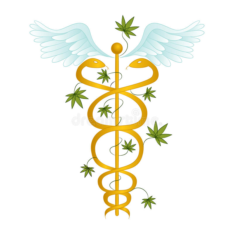 Medische Marihuanacaduceus royalty-vrije illustratie