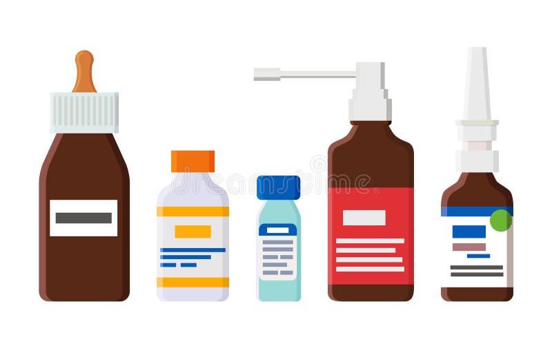 Medische Middelen voor Hoest en Lopende Neus in Flessen royalty-vrije illustratie
