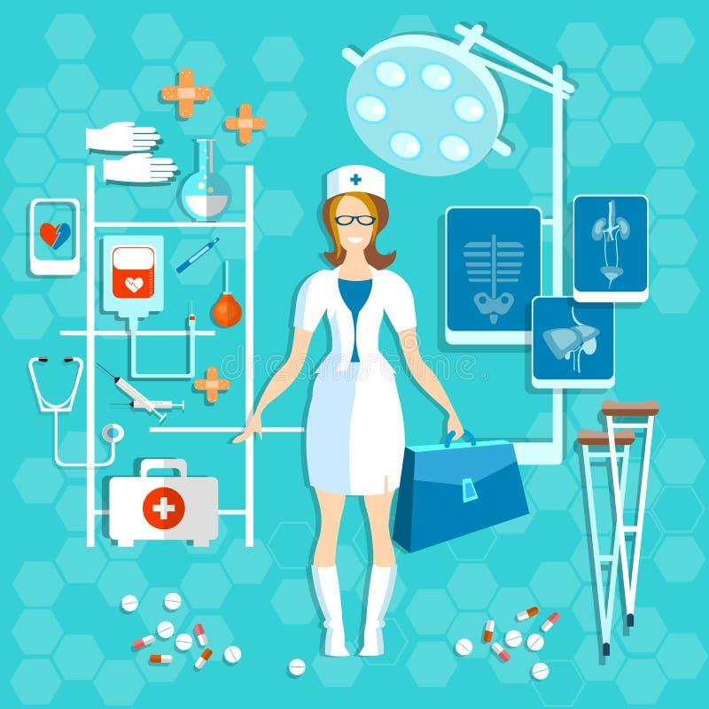 Medische mooie de verpleegstersglimlach van de artsengeneeskunde vector illustratie