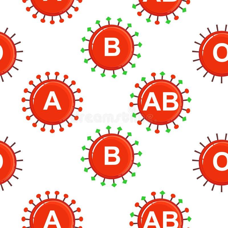 Medische naadloze achtergrond, hematologie, erytrociet, antilichamen, samenkleving vector illustratie