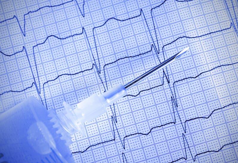 Medische naald met spuit op ECG royalty-vrije stock foto