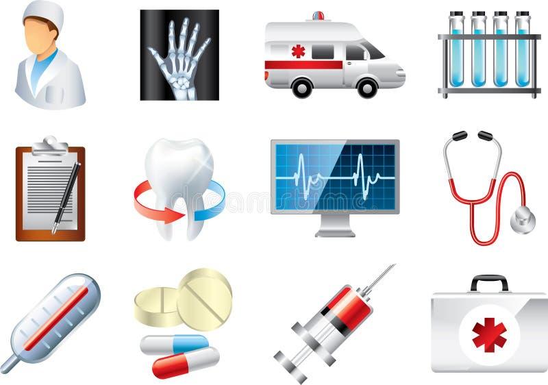 Medische pictogrammen gedetailleerde reeks vector illustratie