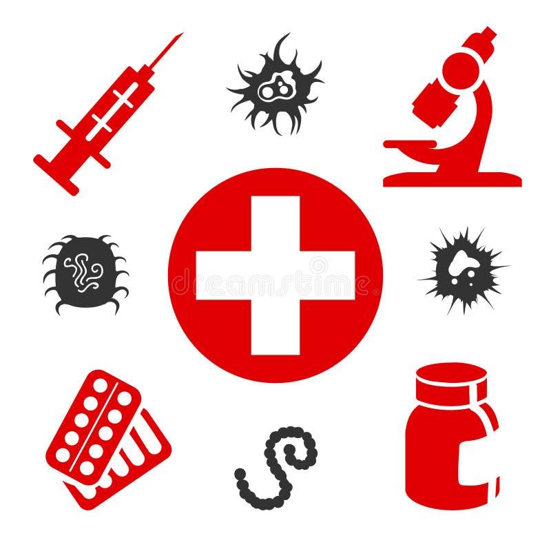 Medische pictogrammen met medische apparatuur vector illustratie