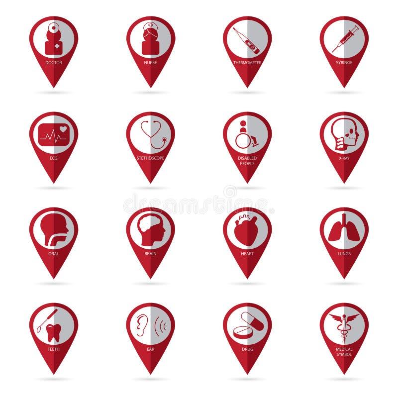 Medische pictogrammen met plaats icon01 stock illustratie