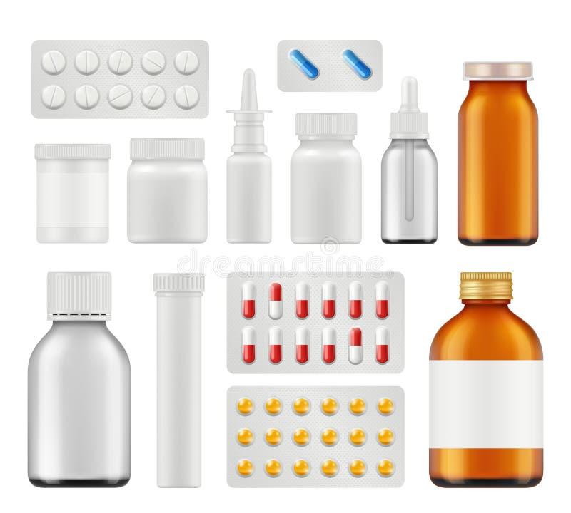 Medische pillen De drugs vector realistisch malplaatje van aspirin van de gezondheidszorgcapsule antibiotisch vector illustratie