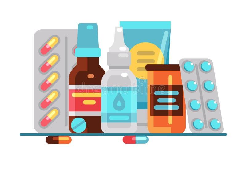 Medische Pillen en Flessen Gezondheidszorg, medicijn, apotheek of drogisterij vectorconcept stock illustratie
