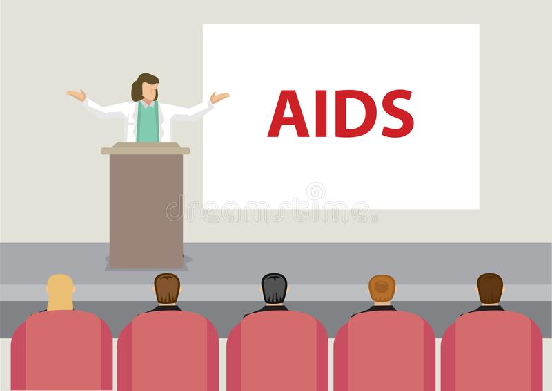 Medische Professionele Spreker op Stadium die Toespraak over AIDS V geven vector illustratie