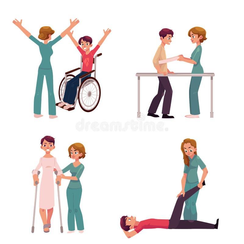 Medische rehabilitatie, fysieke therapieactiviteiten die, fysiotherapeut met patiënten werken stock illustratie
