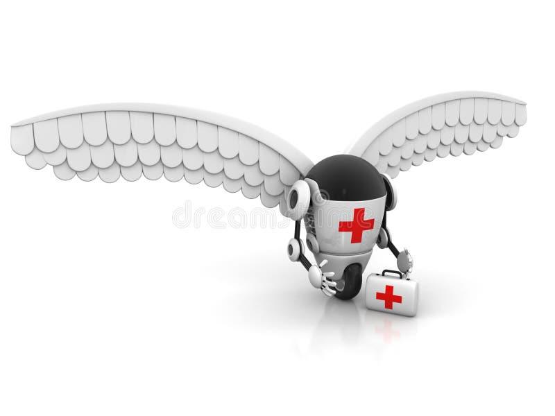 Medische robotrobot met de eerste hulpuitrusting vector illustratie