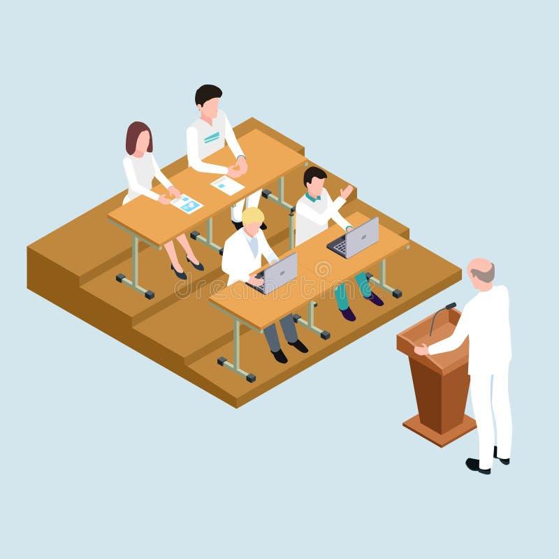 Medische schoolstudenten en proffessor isometrische vectorillustratie vector illustratie