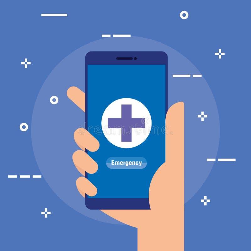 Medische smartphonetechnologie aan online diagnose royalty-vrije illustratie
