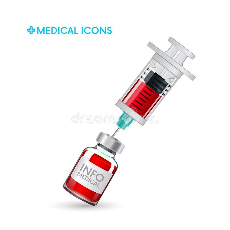 Medische spuit en ampul injectie, inenting pictogram en symbool van geneeskunde Medische vectorillustratie royalty-vrije illustratie