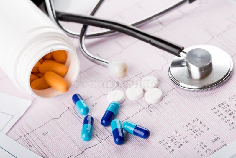 Medische spuiten en pillen. stock afbeelding