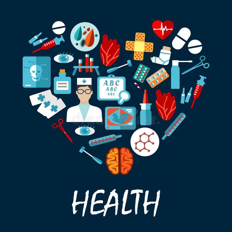 Medische symbolenaffiche in hartvorm vector illustratie