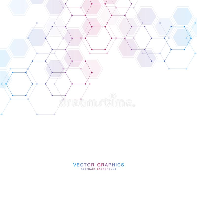 Medische technologie of wetenschaps vectorachtergrond Moleculaire structuur en chemische samenstellingen stock illustratie