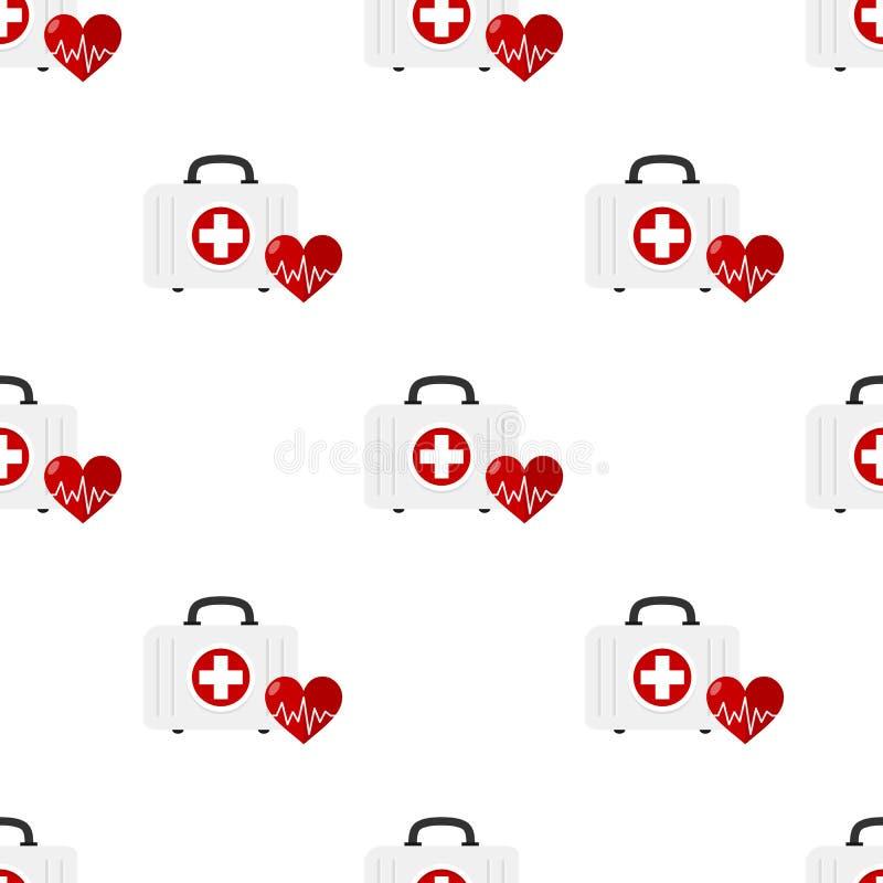 Medische Uitrusting en Hart Naadloos Patroon vector illustratie