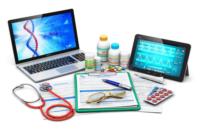 Medische uitrustingen, voorschriftvormen en computerdiagnostiek vector illustratie