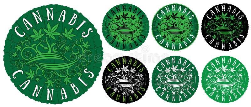 Medische van de de bladerentextuur van de marihuanacannabis het ontwerp groene zegels vector illustratie