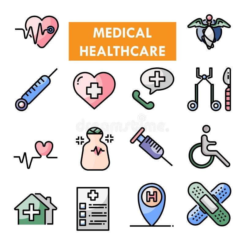 Medische vector het pictogramreeks van de gezondheidszorglijn royalty-vrije stock foto's