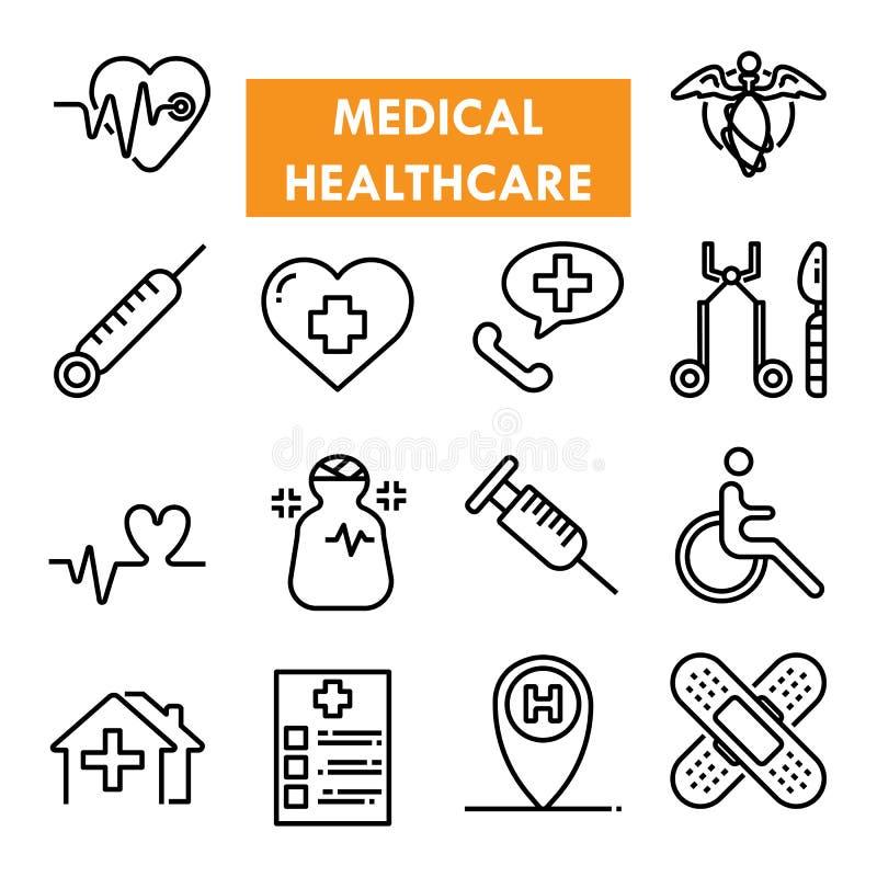 Medische vector het pictogramreeks van de gezondheidszorglijn royalty-vrije stock foto