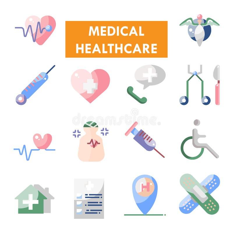 Medische vector het pictogramreeks van de gezondheidszorglijn royalty-vrije stock afbeeldingen