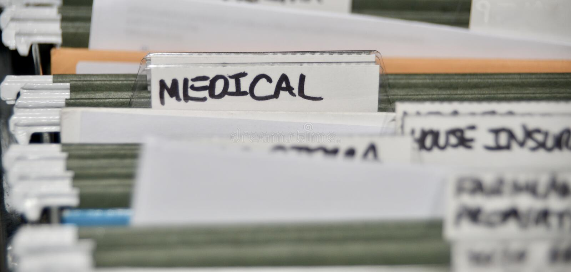 Medische Verzekeringsdossiers en Verslagen royalty-vrije stock foto