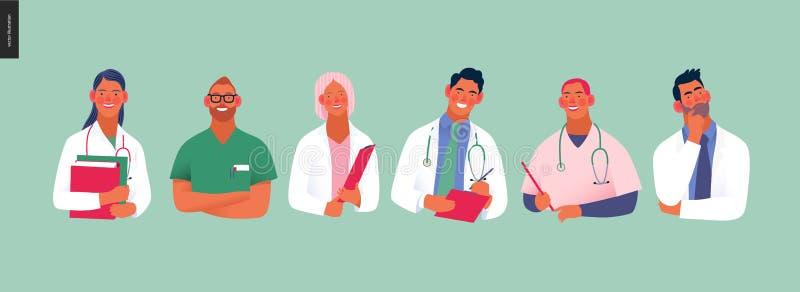 Medische verzekeringsmalplaatje - beste artsen royalty-vrije illustratie
