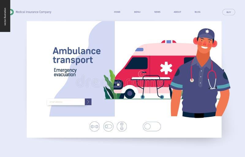 Medische verzekeringsmalplaatje - ziekenwagenvervoer en noodsituatieevacuatie royalty-vrije illustratie