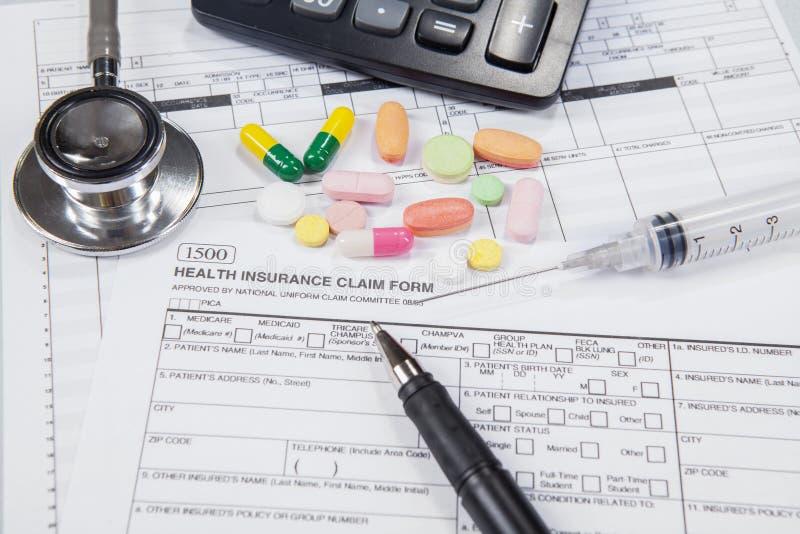 Medische verzekeringsvorm voor patiënt stock afbeelding