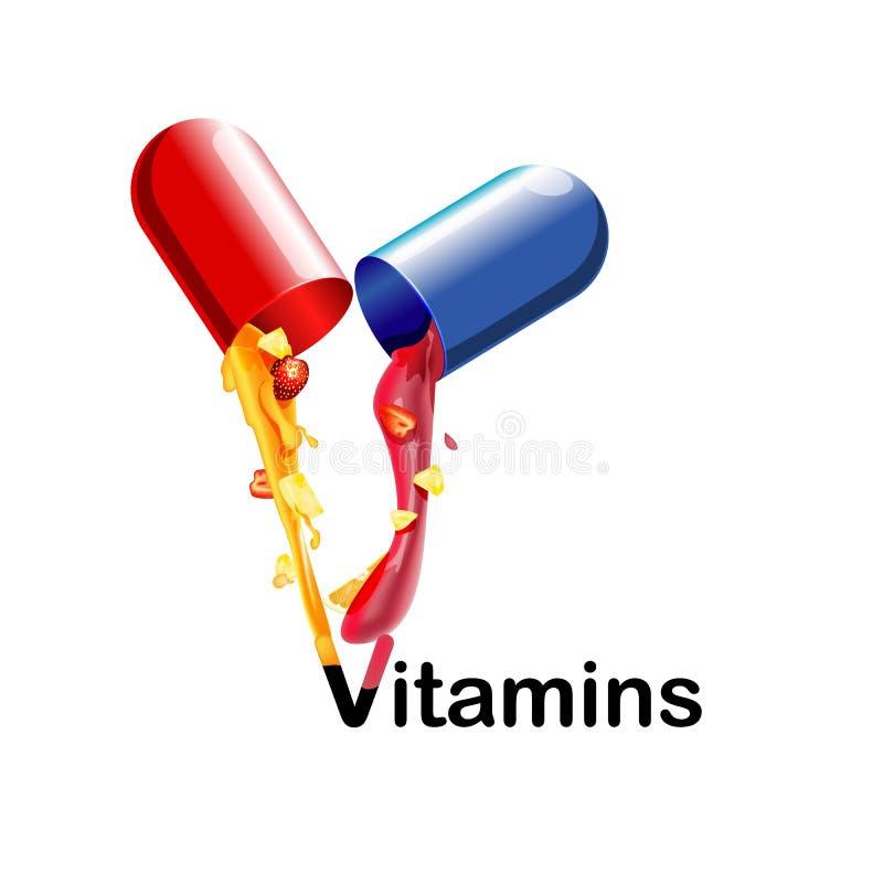 Medische vitaminen en mineralen de achtergrond De tabletten, gezondheid, capsulesgeneesmiddel gieten het sap met het fruit 3d vector illustratie