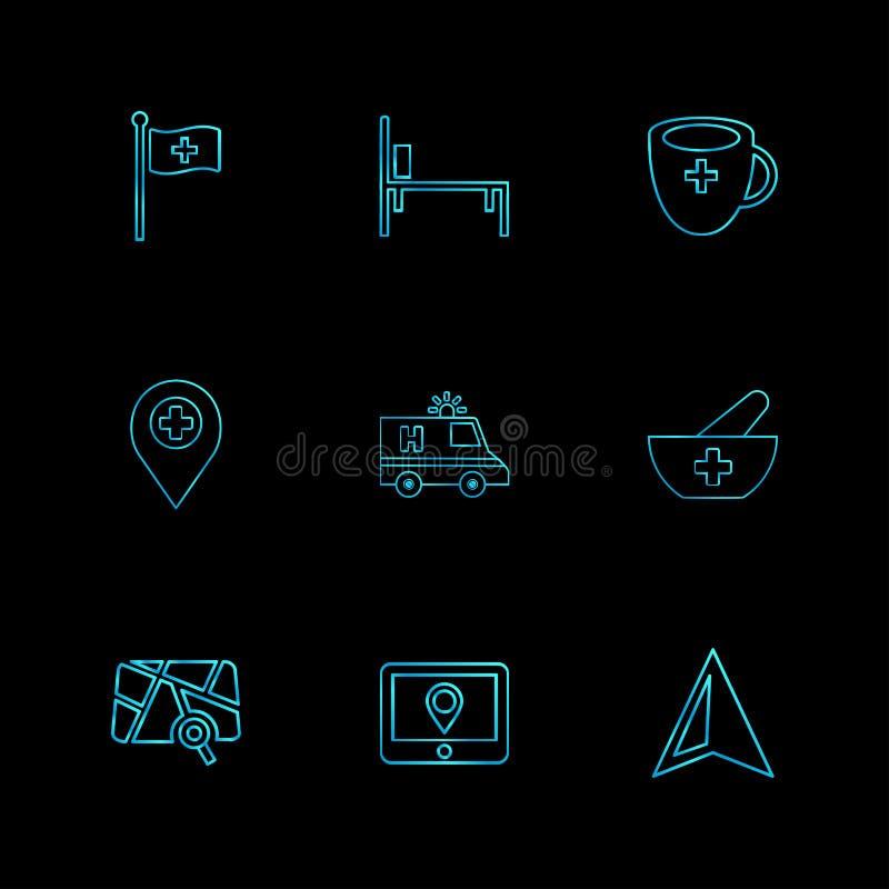 medische vlag, bed, kop, navigatie, ziekenwagen, gezondheid, boog vector illustratie