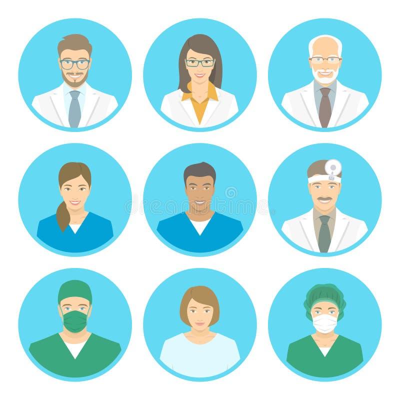 Medische vlakke avatars van het kliniekpersoneel stock illustratie
