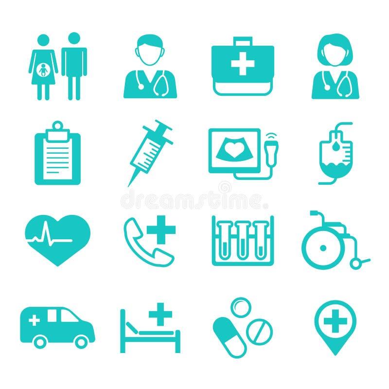 Medische vlakke Pictogrammen, medisch embleem voor Web, app, gebruikersinterface (UI) stock illustratie