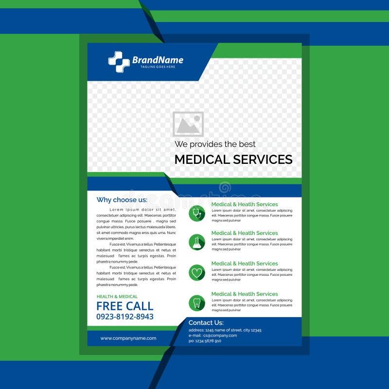 Medische vlieger groene en blauwe kleur vector illustratie
