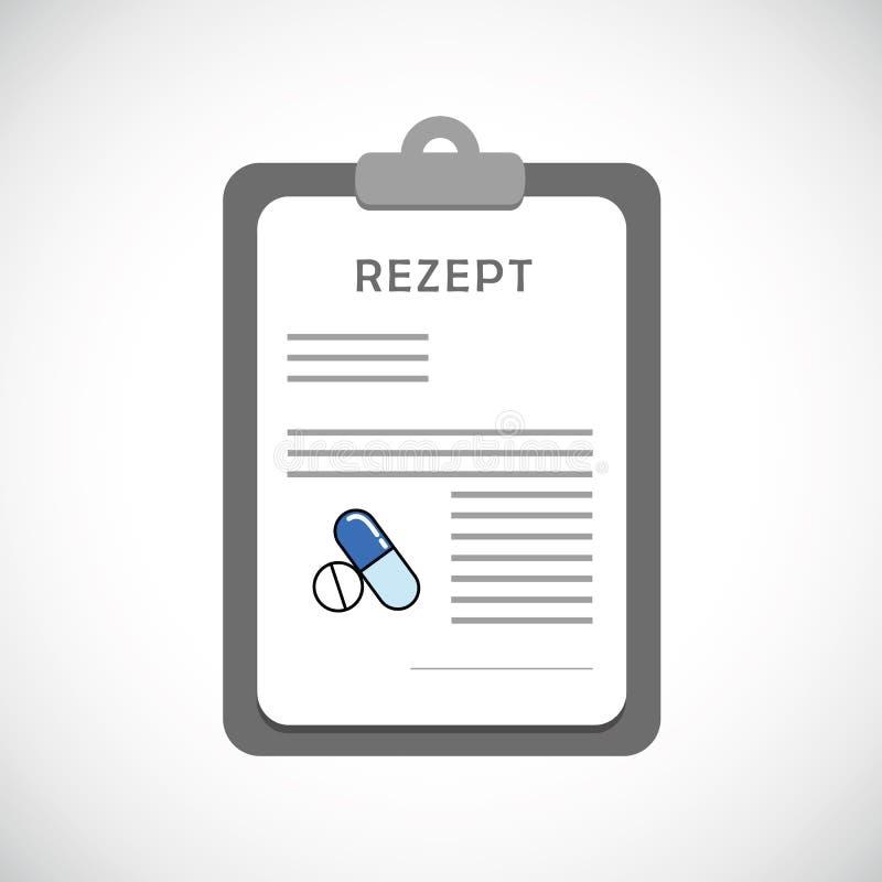 Medische voorschrifttypografie met medicijn op een klembord vector illustratie