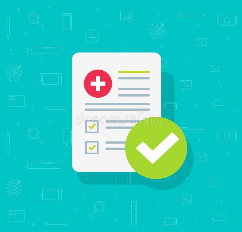 Medische vormlijst met resultatengegevens en goedgekeurde vinkje vectorillustratie, vlak klinisch controlelijstdocument met royalty-vrije illustratie
