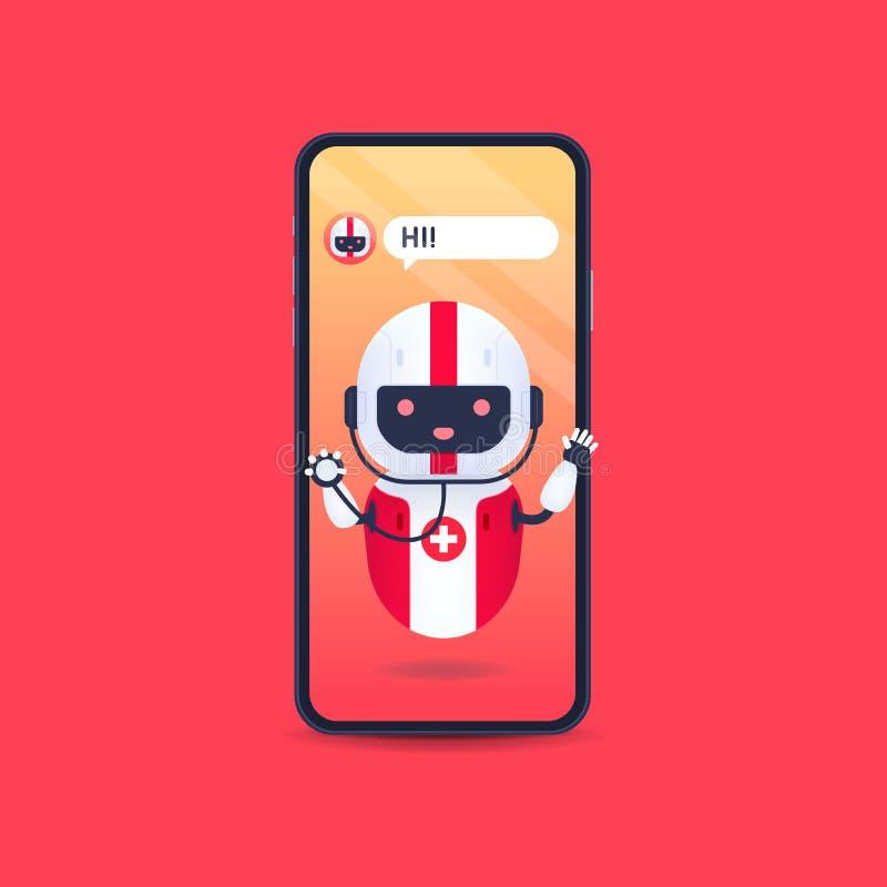 Medische vriendelijke androïde robot met stethoscoop op smartphone Toekomstconcept voor medische chatbot Online Doctor, medisch a stock illustratie