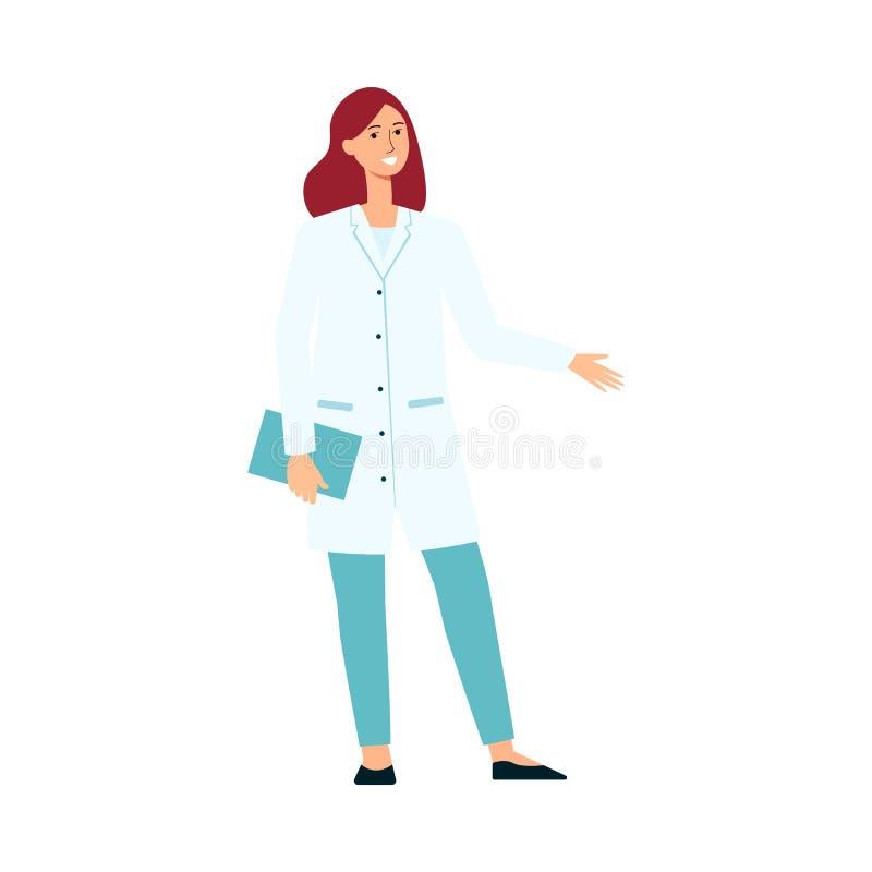Medische vrouwelijke arts die en het gesticuleren beeldverhaalstijl bevinden zich royalty-vrije illustratie