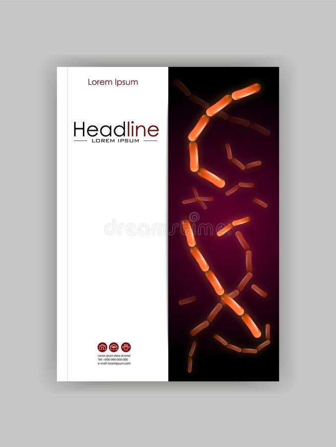 Medische, wetenschappelijke, academische dagboekdekking Kolonie van bacteriën stock illustratie