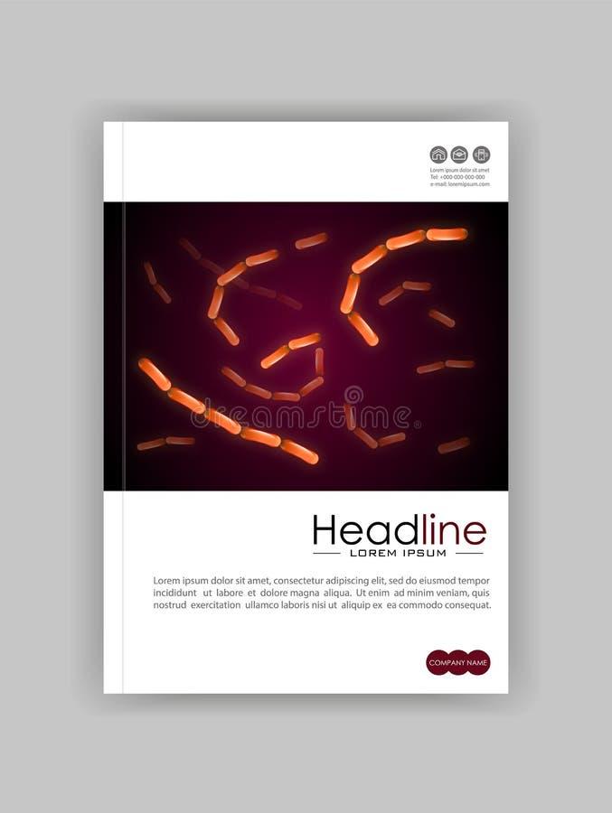 Medische, wetenschappelijke, academische dagboekdekking Kolonie van bacteriën vector illustratie