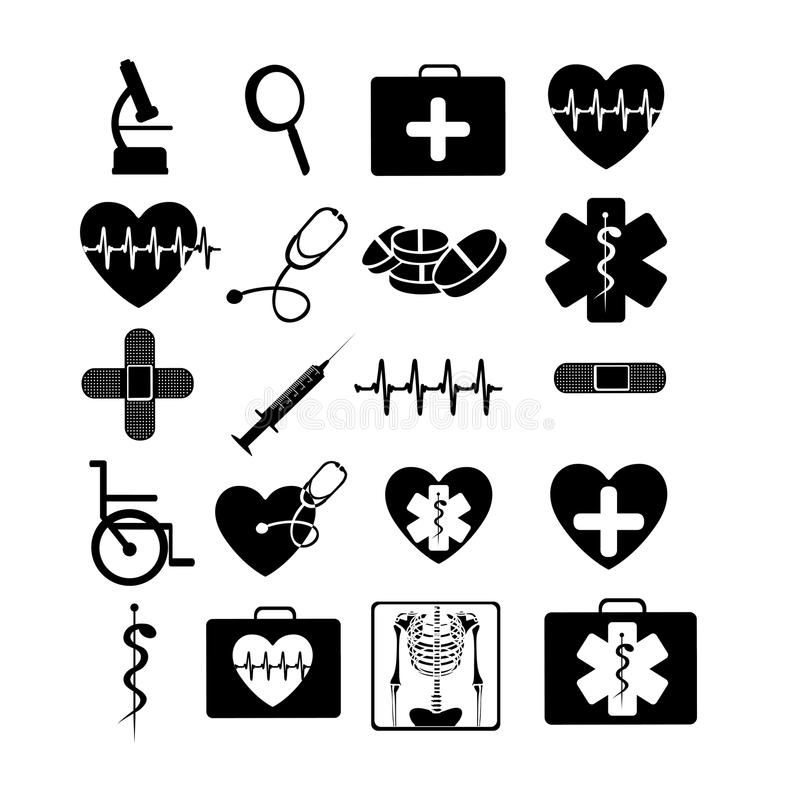 Medische zwart-wit pictogrammen royalty-vrije illustratie