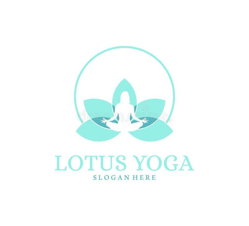 meditação azul da ioga em uma ilustração do projeto do logotipo do símbolo do equilíbrio da flor de lótus ilustração stock