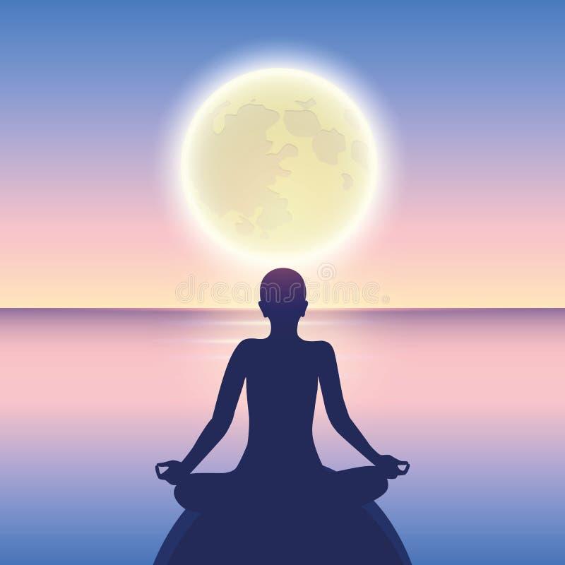Meditação calma em um mar calmo no luar ilustração royalty free