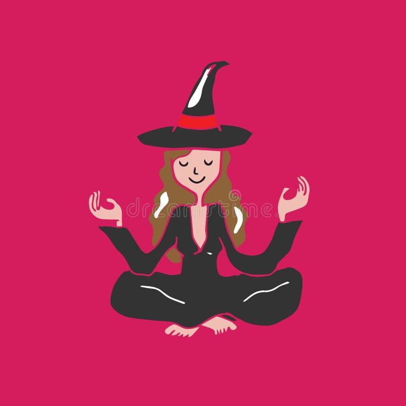 Meditação da bruxa de Dia das Bruxas dos povos ilustração royalty free