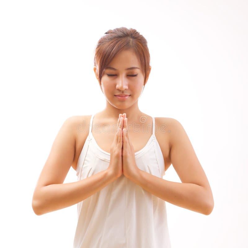 Meditação da ioga da mulher imagens de stock