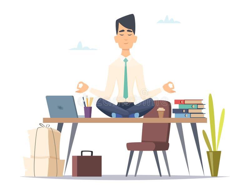 Meditação da ioga do homem de negócios O escritório relaxa no homem ocupado forçado do trabalho que senta-se na prática da ioga d ilustração do vetor