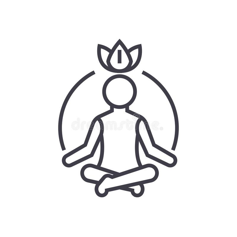 Meditação do abrandamento, mindfulness, linha ícone do vetor da concentração, sinal, ilustração no fundo, cursos editáveis ilustração royalty free