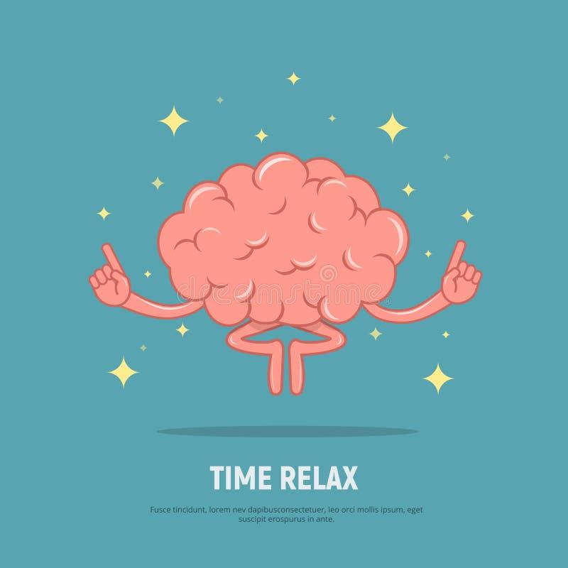 Meditação do cérebro dos desenhos animados O tempo do conceito relaxa Cérebro calmo em lótus de posição ilustração do vetor