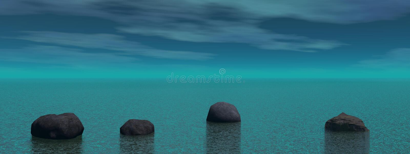Meditação e azul de pedra da paisagem - rendição 3D ilustração stock