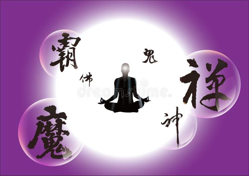 Meditação e caligrafia chinesa ilustração do vetor